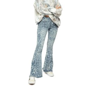 New Free People Dream Lover Flare Printed Jeans